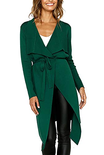 PRETTYGARDEN Women's Long Sleeve Drape Front Soft High Low Asymmetrical Irregular Hem Knit Cardigan Coat with Belt (Green, X-Large)
