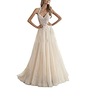 0a4721beeedf Doramei Women s Halter Bridal Gowns Soft Tulle Lace With Beadings A-Line Wedding  Dress For Bride White 10
