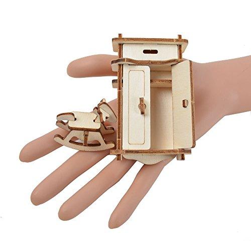 BOHS 1SET=34PCS Wooden Dollhouse Furnitures 3D Puzzle Scale Miniature Models Doll House DIY Accessories,Laser Cut