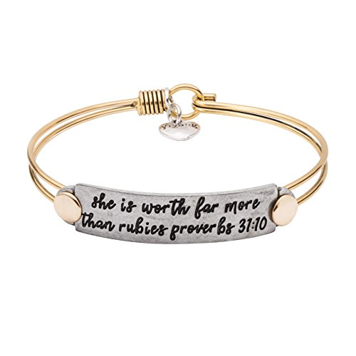UNQJRY Christian Gifts for Women Religious Bracelets Bible Verse Bangle Inspiration Vintage Brass Copper Friendship Jewelry Gift for Girl Engraved She is Worth Far More Than Rubies ()