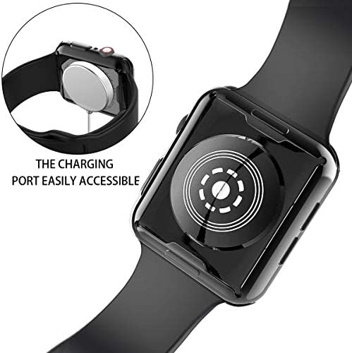 [2-Pack] Julk Case for Apple Watch Series 5 / Series 4 Screen Protector 44mm, 2019 New iWatch Overall Protective Case TPU HD Ultra-Thin Cover for Series 5/4 (1 Black+1 Transparent) 4