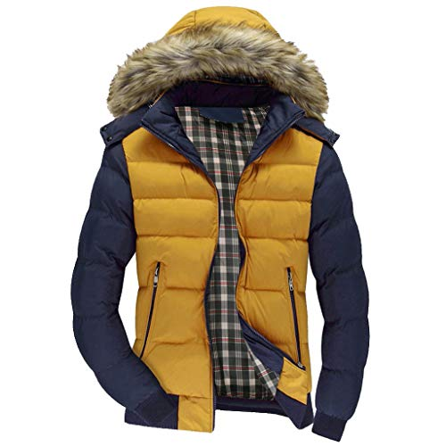 Black Friday Sales 2018 Clothes GOVOW Warm Hooded Jackets For Men Zipper Coat Outwear Jacket Top Winter Pullover(US:14/CN:XXL,Yellow)