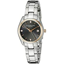Stuhrling Original Women's 414L.04 Classic Ascot Stainless Steel Bracelet Date Watch with Rose-Tone Bezel and Swarovski Crystals