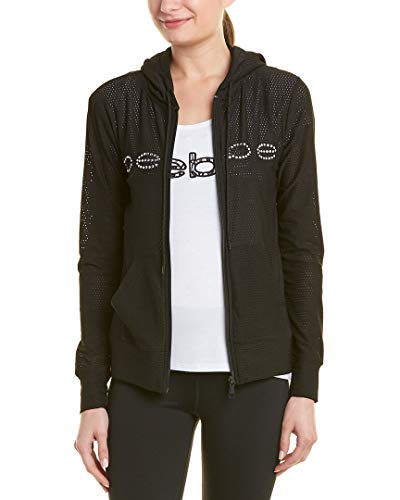 BEBE SPORT Womens Solid Pinhole Mesh Zip Jacket
