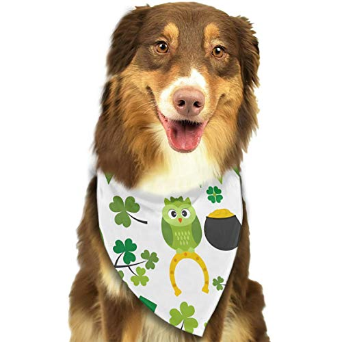 FRTSFLEE Dog Bandana Funny Owls Dressed As Leprechaun Singing On Green Trees Scarves Accessories Decoration for Pet Cats and Puppies ()