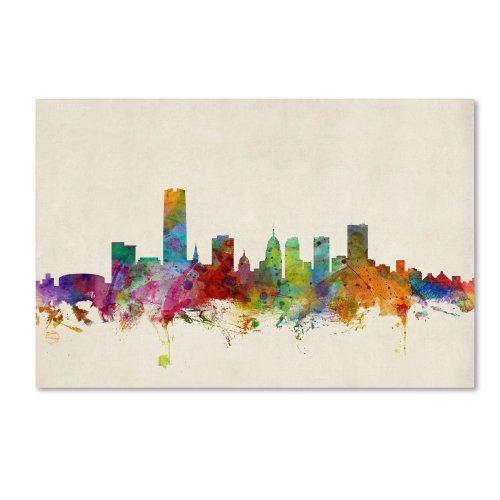 Oklahoma City Skyline by Michael Tompsett, 22x32-Inch Canvas Wall Art ()