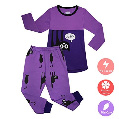 ACESTAR 100% Cotton Cozy Pajamas Set, Lovely Cat Printing Long Sleeve PJS New Year Christmas for Toddler Baby Boys Girls Kids PJ Sleepwear(3T,Purple)