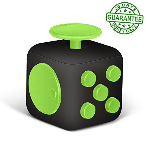Fidget Cube Fidget Dice Toy - 13 different colors! - Relieves Stress & Anxiety, Helps to Focus - For Adults and Children - Extra Durable Silicon Non-Plastic Twiddle Cube by Ombrace (Black and Green)