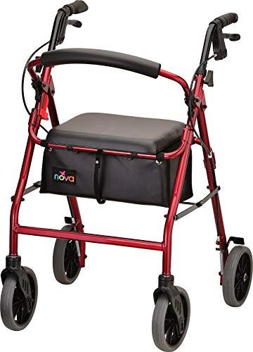 NOVA Zoom Rollator Walker with 24' Seat Height, Red