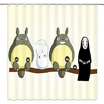 AMNYSF Cute Totoro Decor Shower Curtain Cartoon Illustration Little Faceless Male Light Yellow Background70x70 Inch Waterproof Polyester Fabric