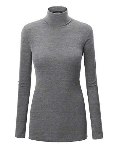 WT950 Womens Long Sleeve Rib Turtleneck Top Pullover Sweater S Heather_Dark_Grey