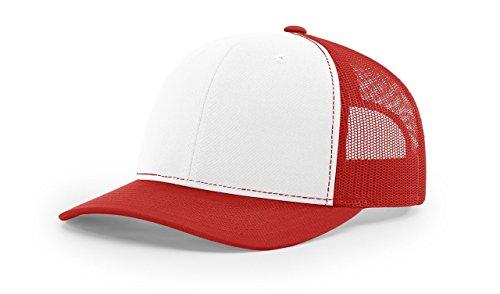 Richardson White/Red 112 Mesh Back Trucker Cap Snapback Hat (Trucker Mesh Red Hat)