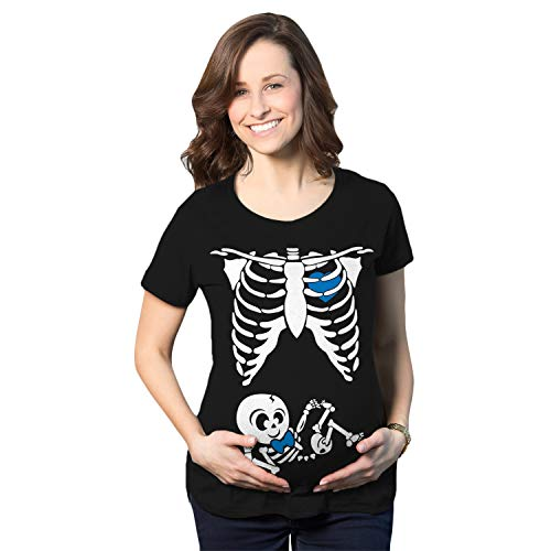 Crazy Dog T-Shirts Maternity Baby Boy Skeleton Cute Pregnancy Bump Tshirt (Black) - XL
