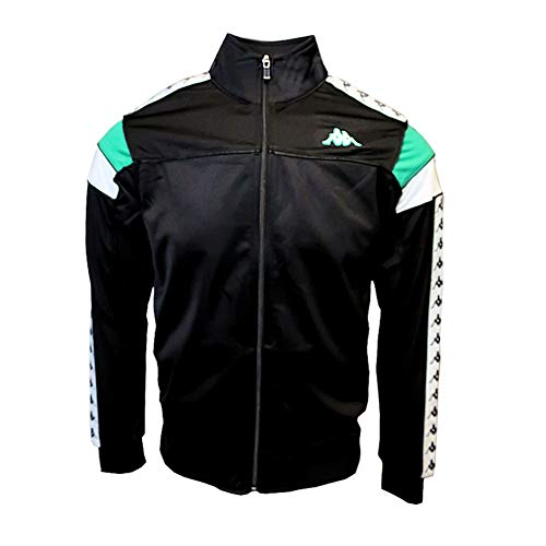 Slim Track - Kappa Mens 222 Banda Merez 90s Slim Track Top Black/Green/White S