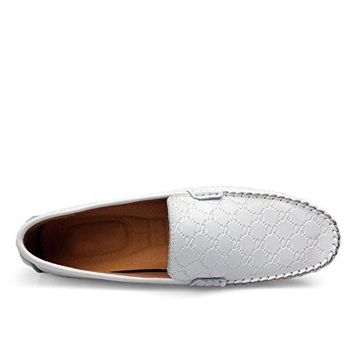 Shenn Hombres Único Realce Diseño Elegante Cuero Zapatos de Conducción 9925 Blanco