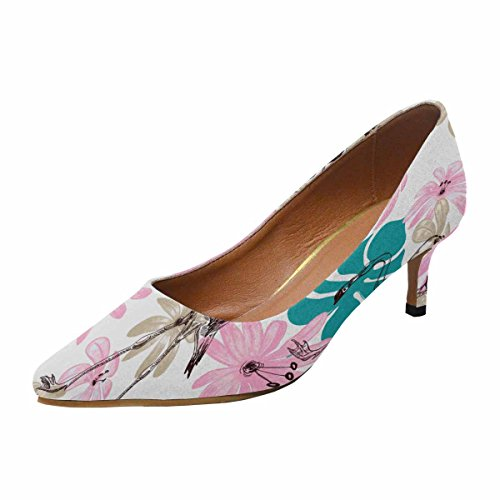 Scarpe Da Donna Lowform Con Tallone Gattino A Punta Svasata Scarpe Flamingo E Fiori Multi 1