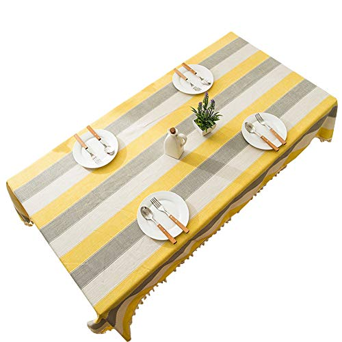 Table Picnic Harvest - Vintage Washable Cotton Linen Tablecloths for Rectangle Tables with Tassel for Dinner Picnic Table Cloth Thanksgiving Harvest Yellow and Gray, 39x55Inch