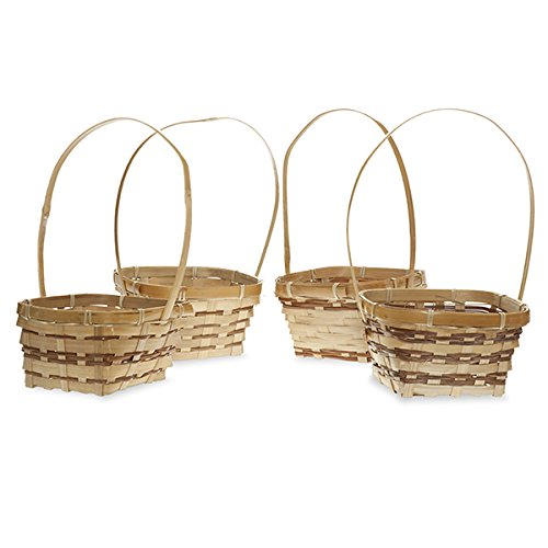 Amazoncom Bamboo Assorted 6 Inch Square Basket With Handle Home
