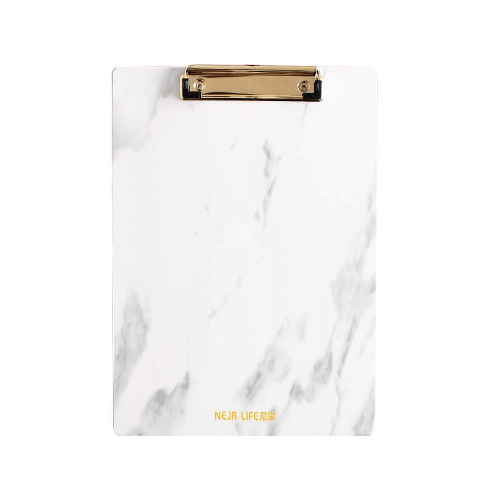 BALUZ Plastic Clipboard,Marble Pattern with Metal Clips,Vertical Clipboard Folder for Home Offices School 2PCS(A4 Size)