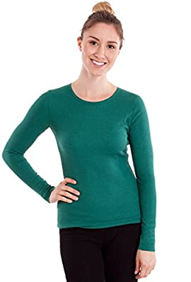 Woman Long Sleeve Thermal Top Crew Neck, Multiple Colors Available