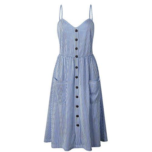 Providethebest Botón de Las Barras Mujeres Bolsillos del Vestido del Verano de la Correa de impresión Beach Party Vestido de tirantesfranja Azul Profundo 3XL poliéster