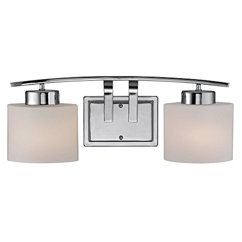 Chrome Bathroom Wall Light with White Oval Glass - Two (Pearl Bathroom Sconce)