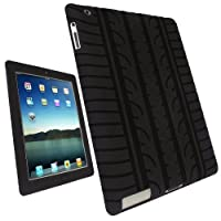 iGadgitz Black Silicone Skin Case Cover with Tire Tread Design for Apple iPad 2, 3 & New iPad 4 with Retina Display 16GB 32GB 64GB + Screen Protector