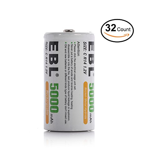 EBL BATTERIES FAMILY Everyday Basic (32 Counts, C Size Battery) by EBL