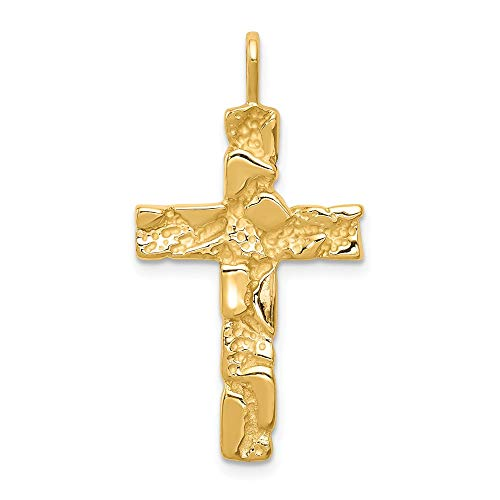 (FB Jewels Solid 14K Yellow Gold Nugget Cross Pendant)