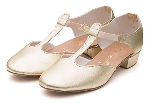 Katz Dancewear Ladies Black Pink Or White Greek Sandal Dance Teaching Jive Salsa Cerco Shoes by (Size 2.5, Gold Metallic PU)
