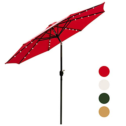 Outdoor Basic 9 Ft Patio Umbrella Solar Powered LED Lighted Fade-Resistant Table Umbrella with Wind Vent Red