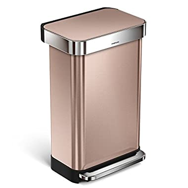 simplehuman Rectangular Step Trash Can with Liner Pocket, Rose Gold Stainless Steel, 45 L / 11.9 Gal
