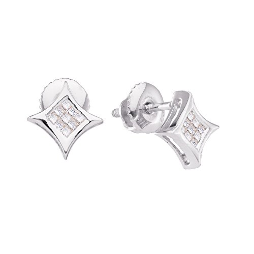 Solid 14k White Gold Princess Cut White Diamond Square Shaped Kite Invisible Set Stud Earrings (.15 cttw) ()