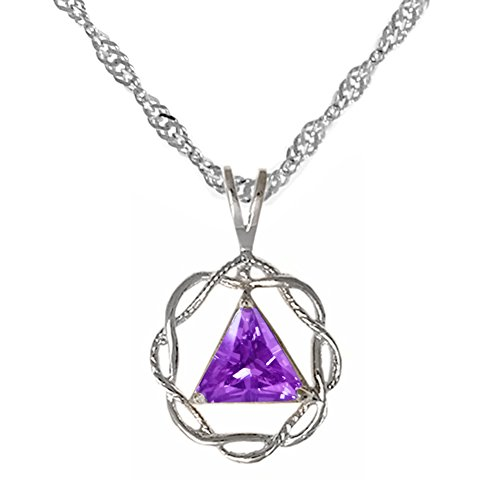 Alcoholics Anonymous AA Jewelry Set, #1216, $48-$54, AA CZ Pendant #566 with Singapore Style Chain #498, Chain Available in 3 Sizes (24 - Gold Singapore Purple