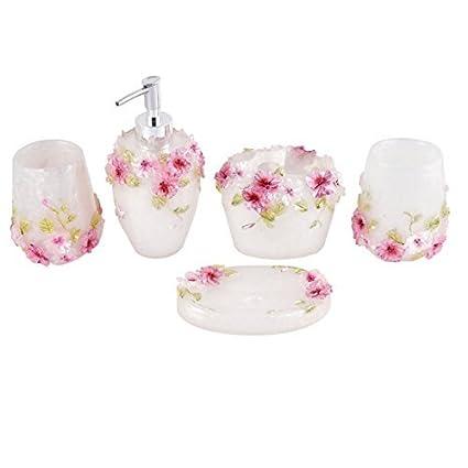 eDealMax de accesorios de baño Conjunto dispensador de jabón cepillo de dientes Titular Vaso Jabonera 5