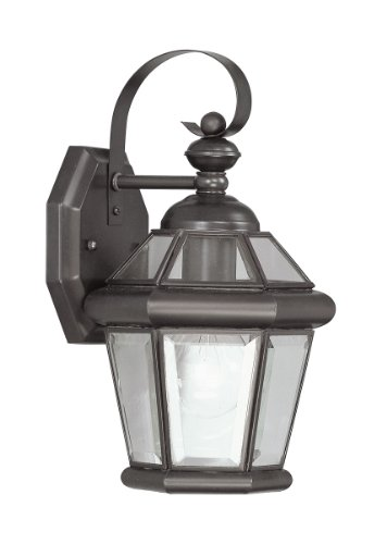 Clear Flat Bronze Wall (Livex Lighting 2061-07 Outdoor Wall Lantern with Clear Flat Glass Shades, Bronze)