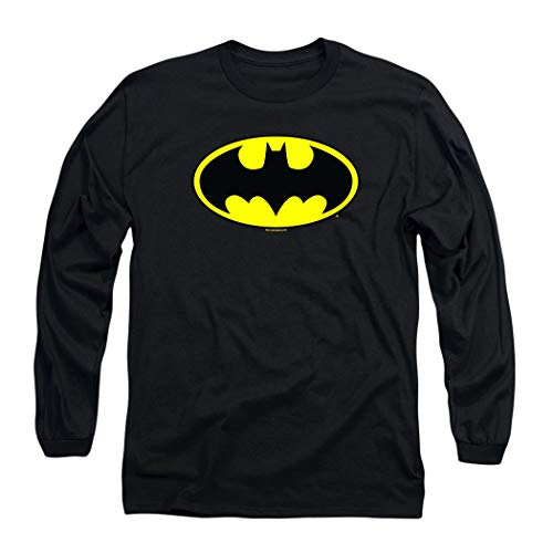 Batman Classic Logo Long Sleeve T-Shirt & Exclusive Stickers (X-Large) Black
