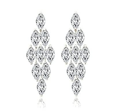 741db283d7163 Asma Top Quality Sparkling Long Swarovski Elements AAA+ CZ Heavy Dangle  Chandelier Earrings White Gold Plated Bride Wedding Jewelry for Women