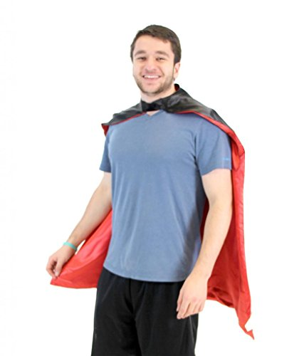 Red And Black Cape (Reversible Adult Black and Red Superhero Costume Cape (Adult))