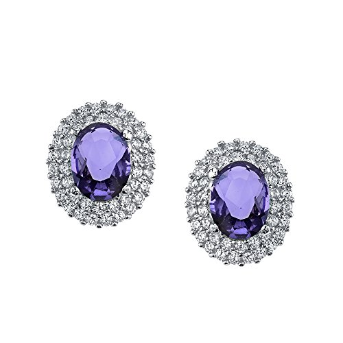 Minxwinx 925 Sterling Silver Formal Stud Tanzanite CZ Earrings Cubic Zirconias Pushbacks (Pave Tanzanite Earrings)