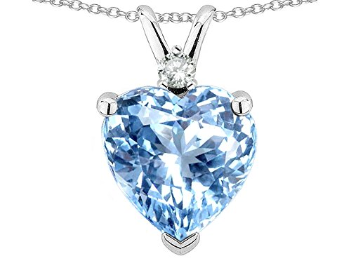 Star K 8mm Light Sky Blue-Topaz Heart Pendant Necklace 10k