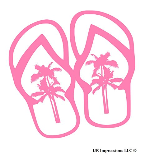UR Impressions Pnk Palm Tree Flip Flops Sandals Decal Vinyl Sticker Graphics for Cars Trucks SUV Vans Walls Windows Laptop|Pink|5.5 Inch|URI503