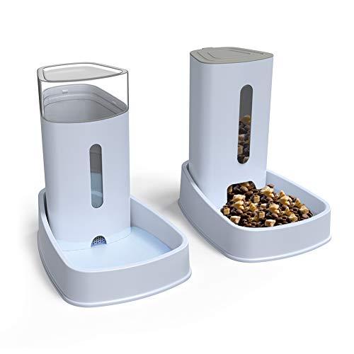 🥇 YGJT Distribuidores Automáticos de Alimentos/Agua para Gatos y Perros Alimentador Automático de Mascotas – 2 Piezas – 3.8L Productos para Mascotas
