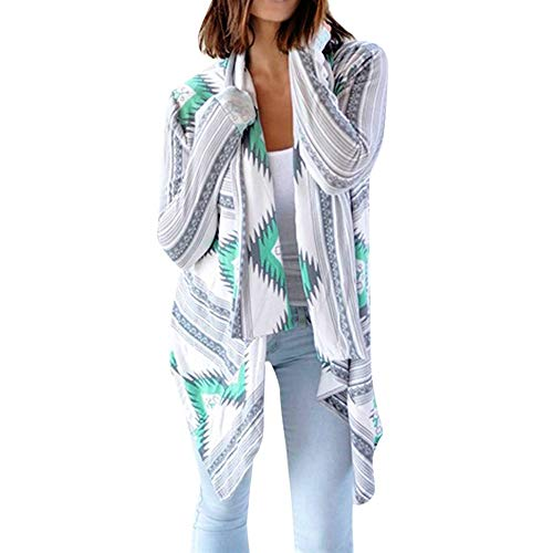 Women Casual Geometric Print Long Sleeve Oversized Outerwear Loose Cardigan