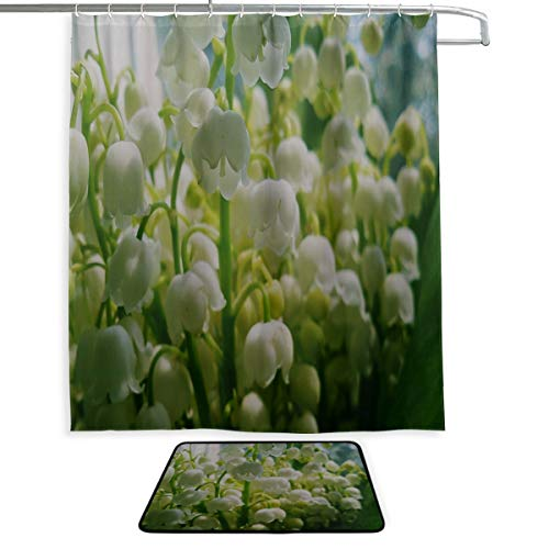 Lily Valley The Of Bouquet (RH Studio Shower Set of 2 Lilys of The Valley Bouquet Bells Spring Mood Shower Curtain and Mat Set Waterproof Fabric Bathroom Curtain and Rug Set with Hooks)