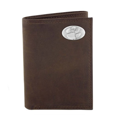 NCAA Clemson Tigers Light Brown Crazyhorse Leather Trifold Concho Wallet, One Size