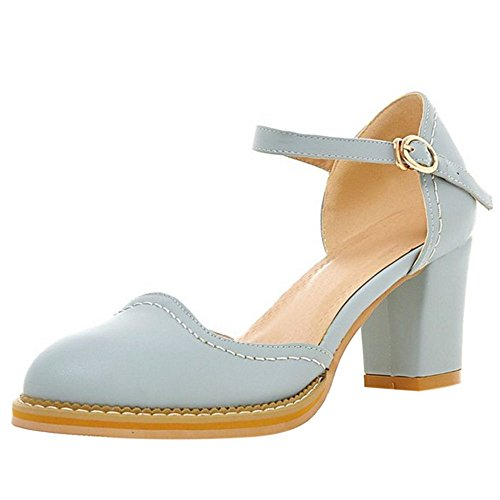 Block Strap Women Pumps FANIMILA Heel Blue 1 vwBqWSF