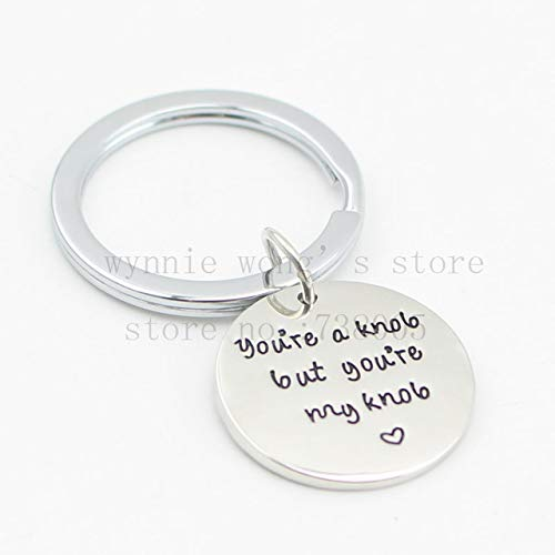 (Hand Stamped Necklace &Chainkey You're A Knob But You're My Knob Gifts for Him Valentines Day (chainkey))