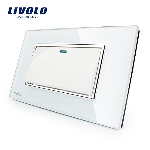 Manufacturer Livolo Luxury White Crystal Glass Panel, Push b