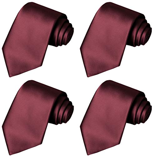 KissTies 4PCS Burgundy Ties Solid Color Tie Wedding Neckties + 1 Magnetic Box